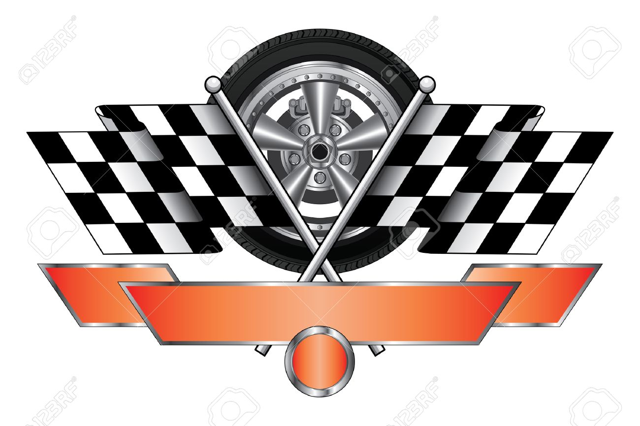 Design car flags - Racing Design With Wheel Is An Illustration Of A Racing Design With Wheel Race Flags