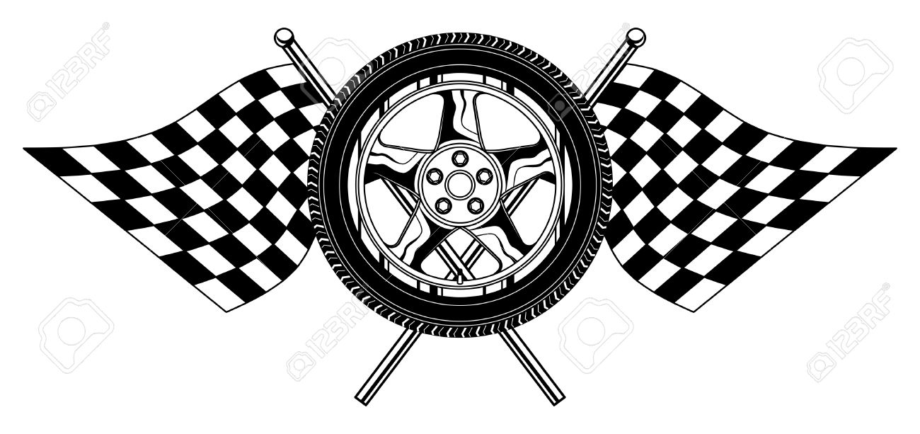 Shirt design course - Vector Wheel With Flags Is An Illustration Of A Wheel With Racing Flags Design Great For T Shirts Designs And Other Automobile Racing Designs