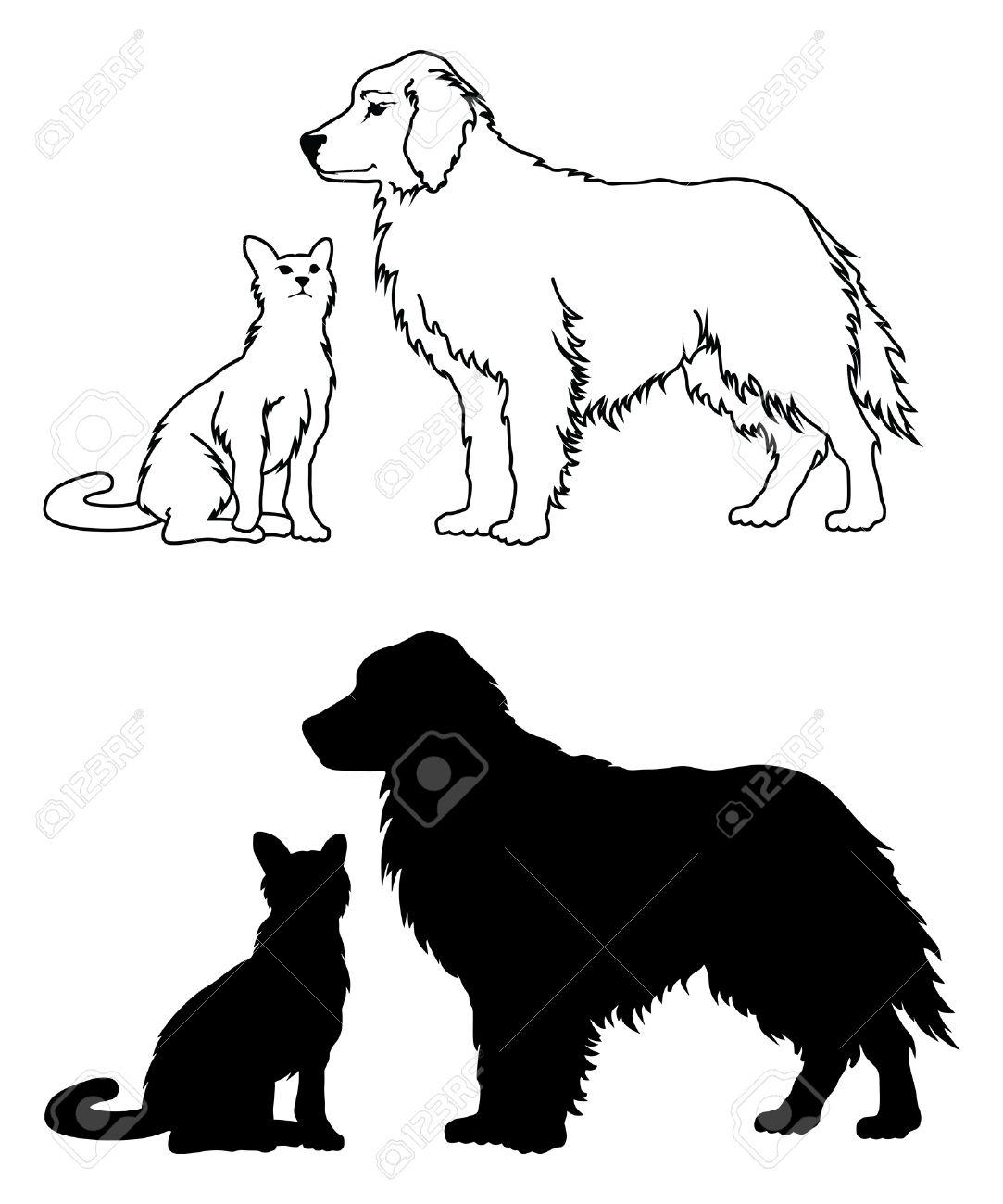 Disegno Cane Bianco E Nero.Cane E Gatto Stile Grafico E Un Esempio Di Due Cani E Un Gatto La Grafica In Bianco E Nero Uno E In Forma Contorno Disegno E L Altro E In Forma