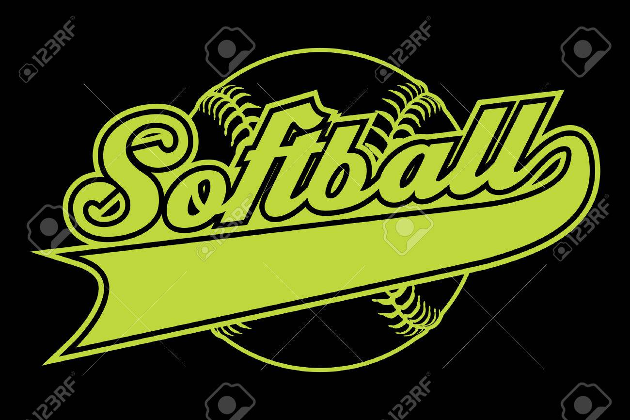 Softball Design With Banner Is An Illustration Of A Softball