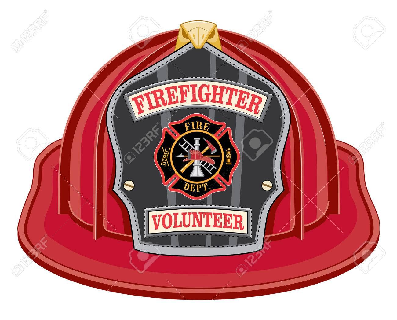 Bombero Voluntario Casco Rojo Es Una Ilustración De Un Casco De Bombero  Rojo O Sombrero De Bombero De Frente Con Un Escudo cf3b5edf3e8