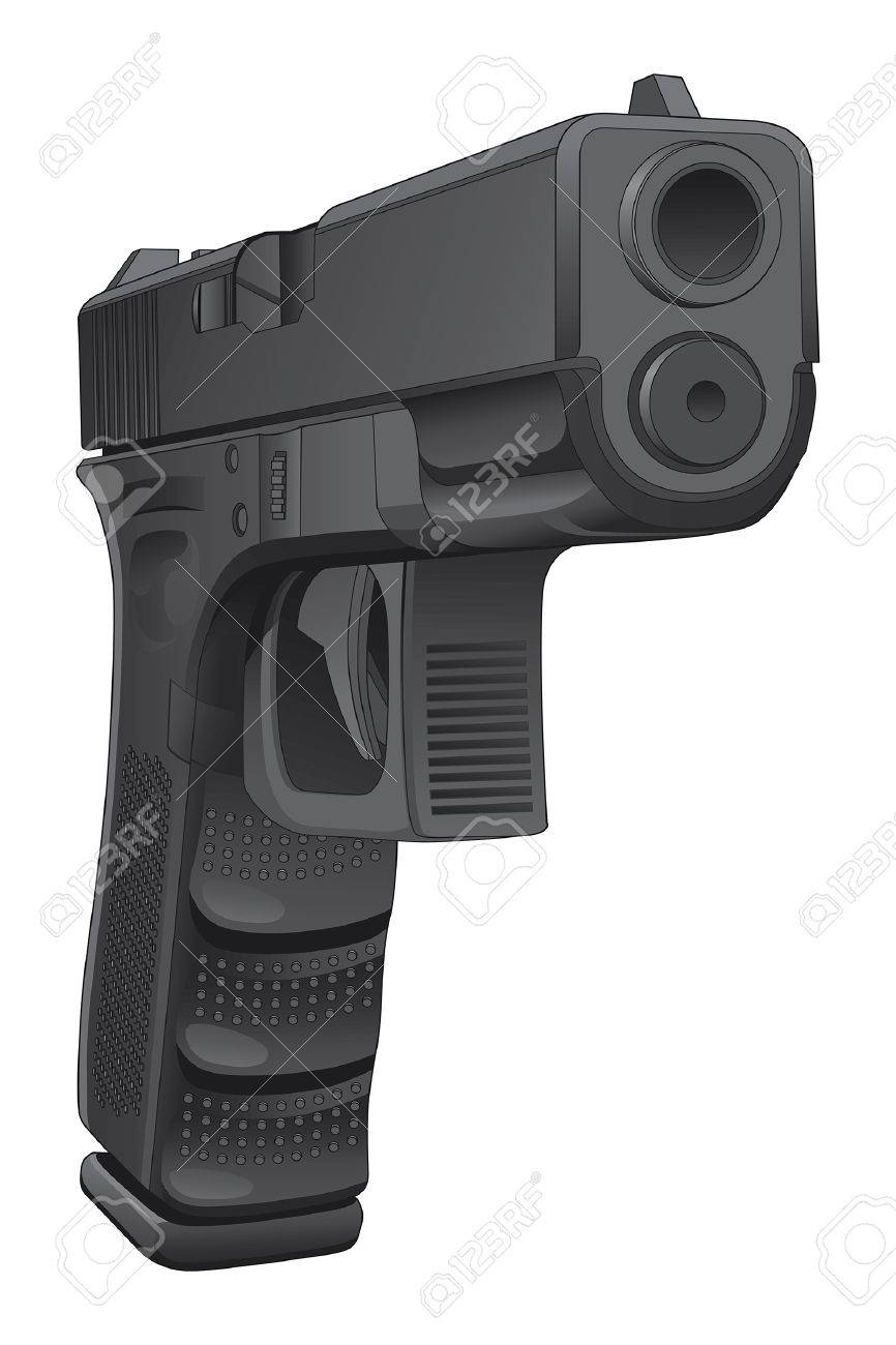 Gun Pointing At You is a detailed illustration of a semi automatic