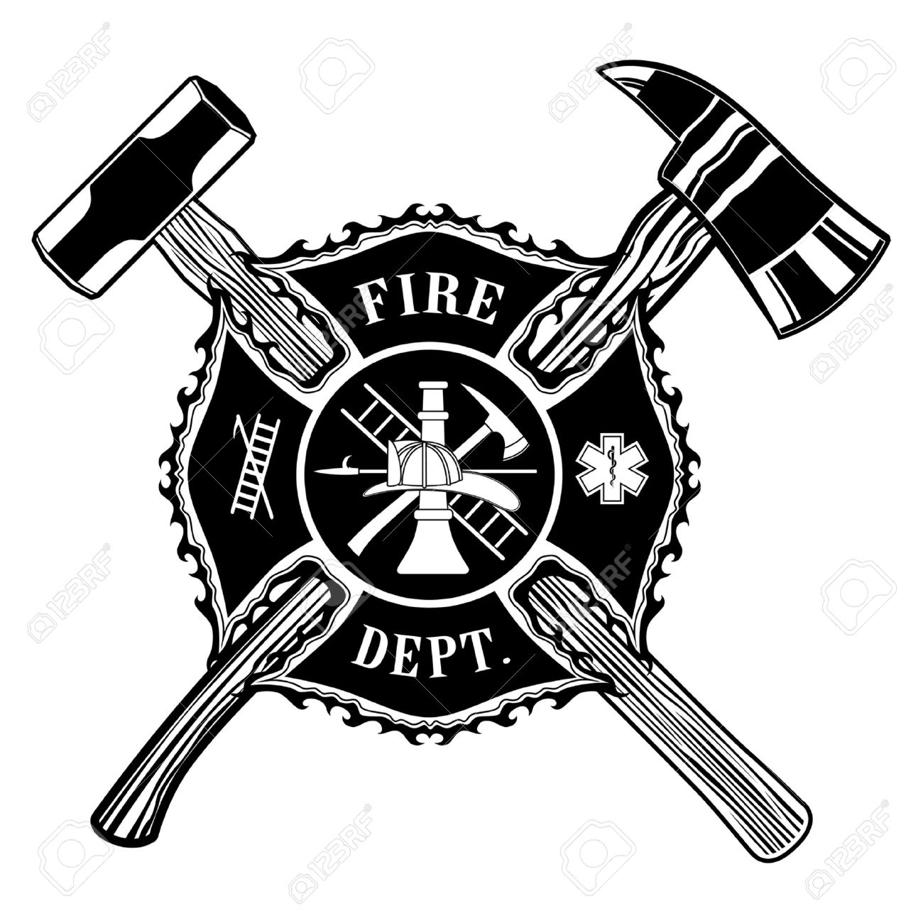 Maltese cross stock photos royalty free maltese cross images and firefighter cross ax and sledge hammer is an illustration of a firefighter or fireman maltese cross biocorpaavc