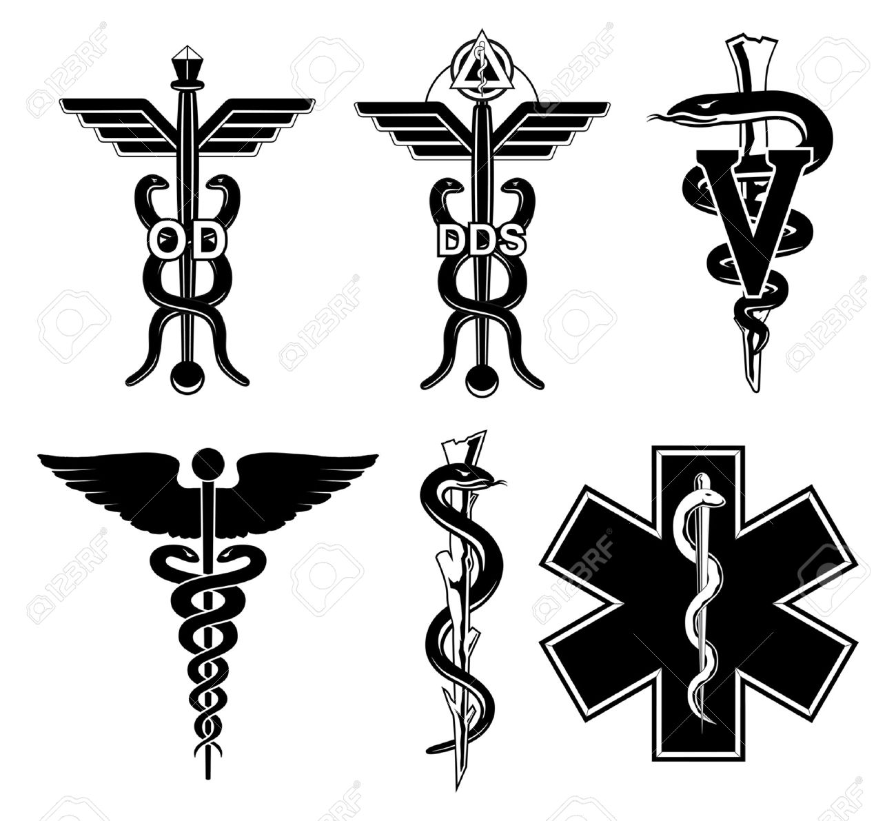 Medical Symbols-Graphic is an illustration of six medical symbols. Optometry, dentistry, veterinary, Caduceus, Rod of Asclepius, and the Star of Life. - 66885742