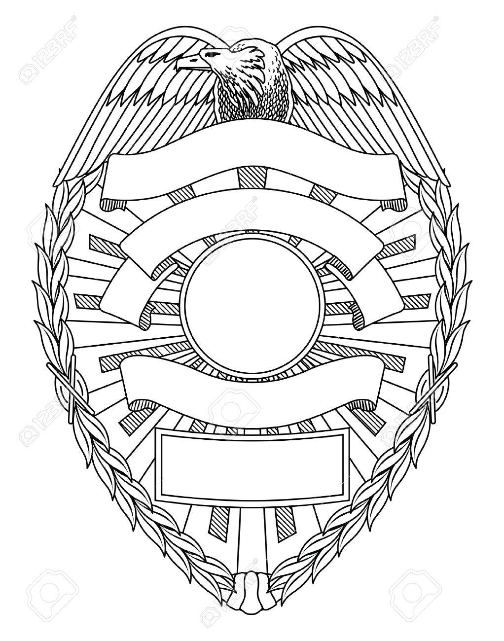 Police Badge Blank is an illustration of a police or law enforcement badge with open space for your specific text such as location, badge number, etc. - 70863014