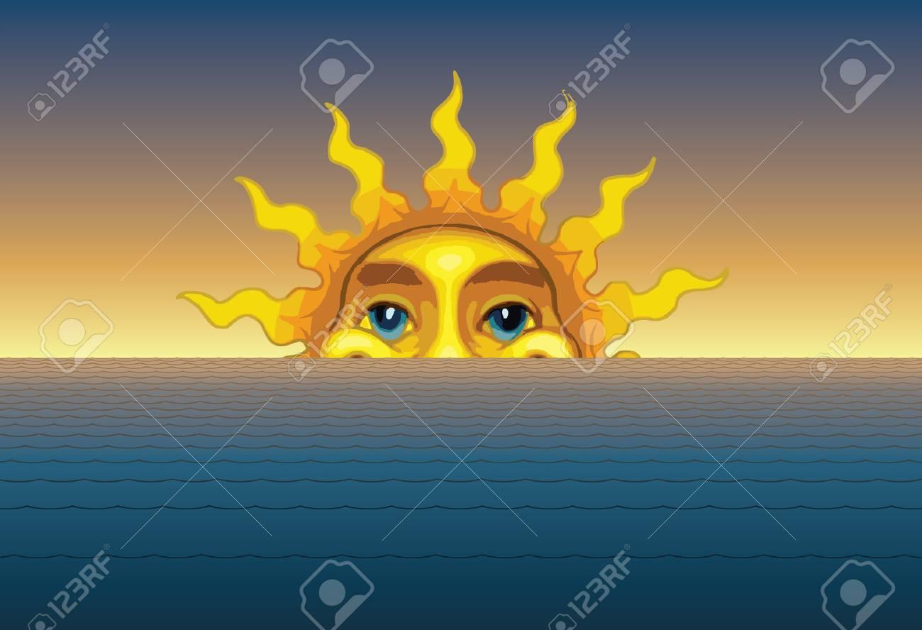 Sunrise Or Sunset è Unillustrazione Del Sole Che Sorge O Tramonta Da Dietro Le Onde Del Mare O Delloceano