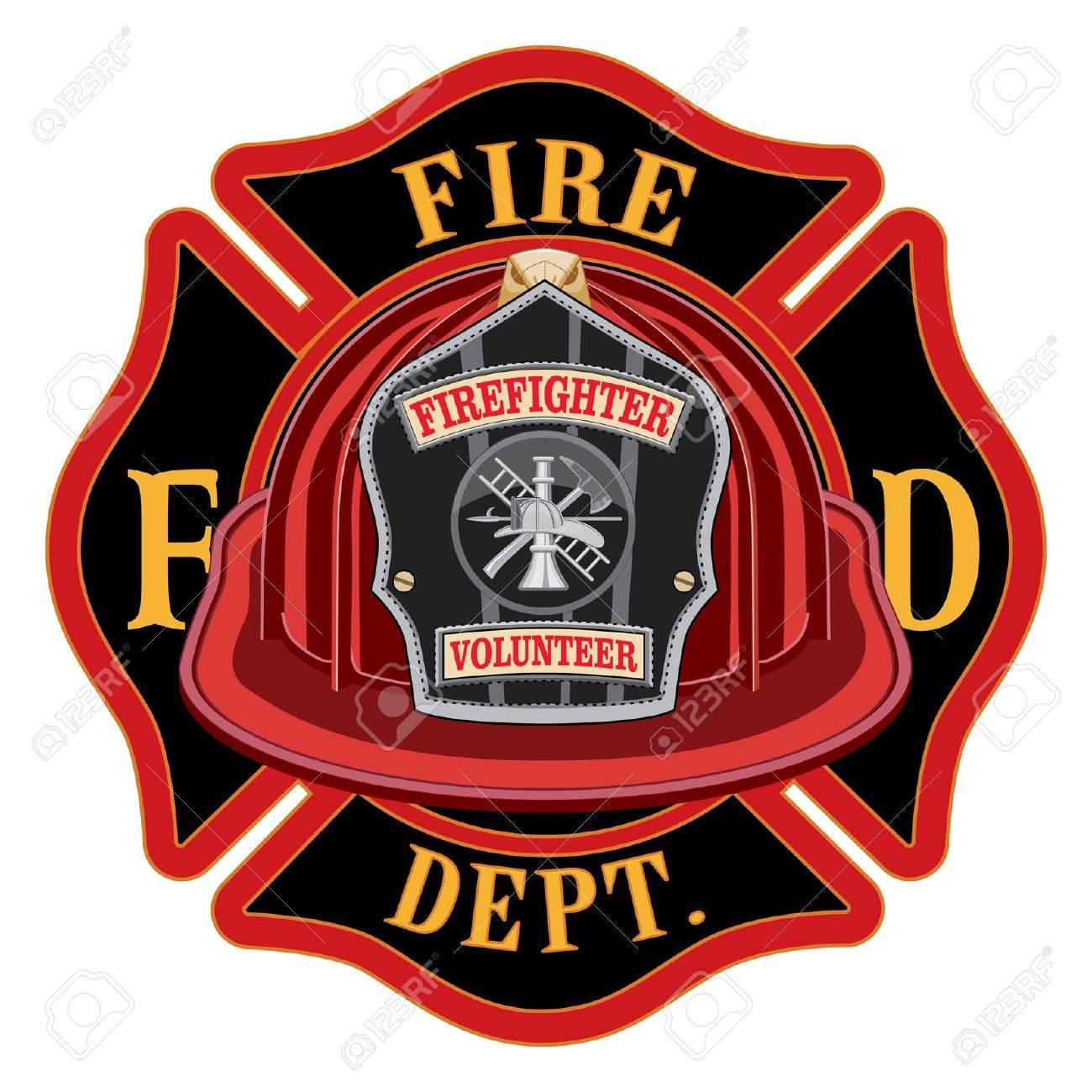 fire department cross volunteer red helmet is an illustration