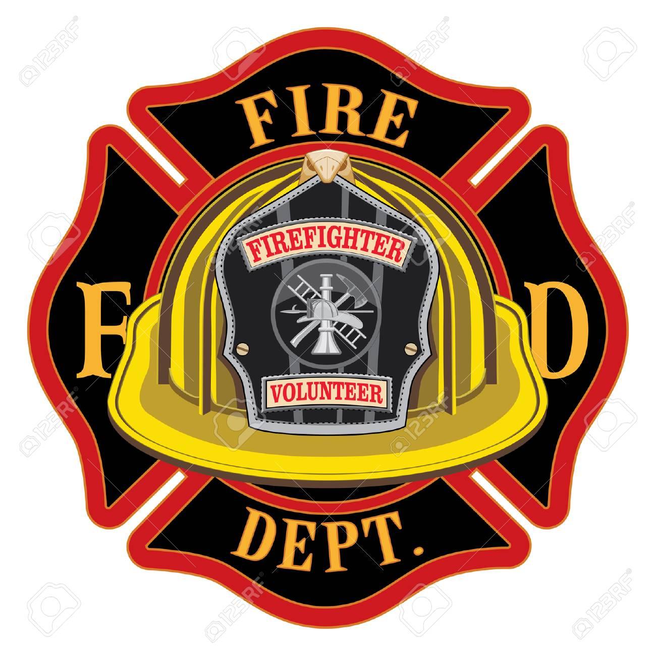 fire department cross volunteer yellow helmet is an illustration