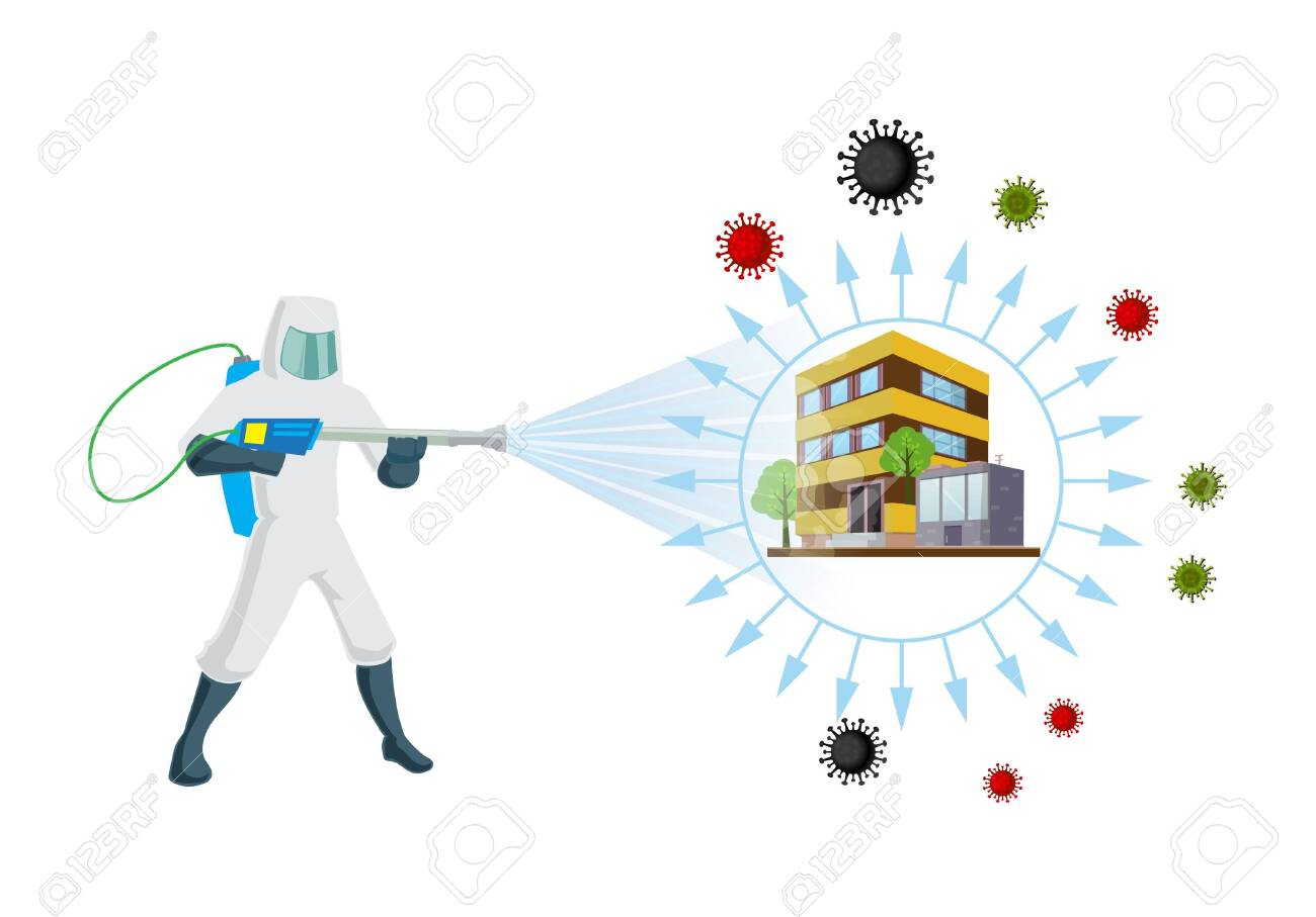 Sanitizing & Disinfectant an office for covid-19 virus corona virus and insects. Human corrector of doing pest control at offices and home. Sanitize office and home vector illustration. - 144342766