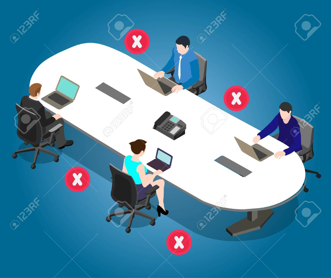 Social distancing poster for meeting room in office. Office employees are maintain social distance board room. Awareness image for precautions of covid-19 coronavirus. - 145993497