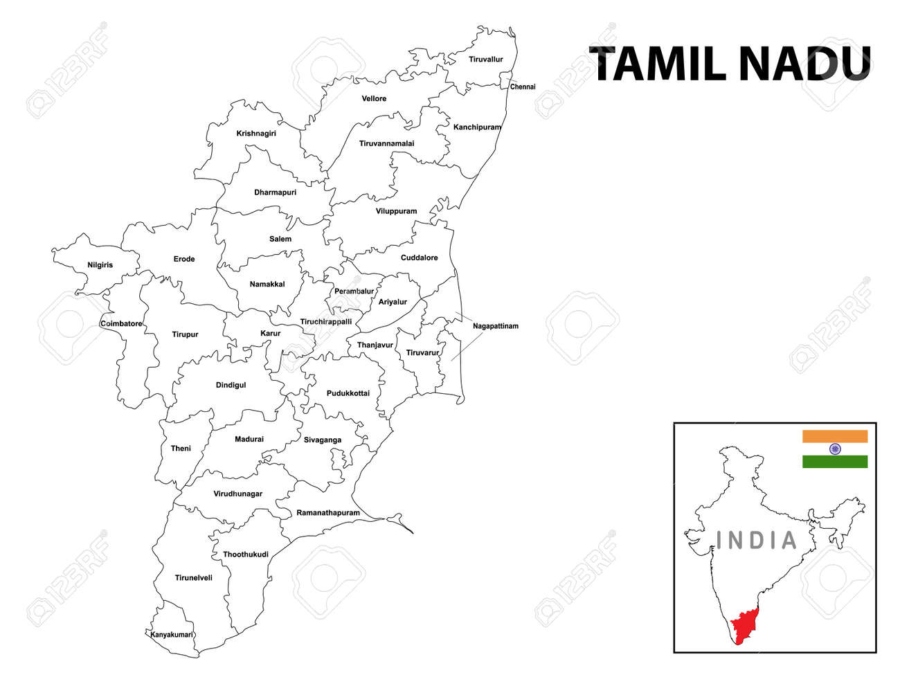 Tamil nadu map. District ways map of tamil nadu with name. Vector illustration of Tamilnadu geographical map. New and original design with showing border line and name. - 168900302