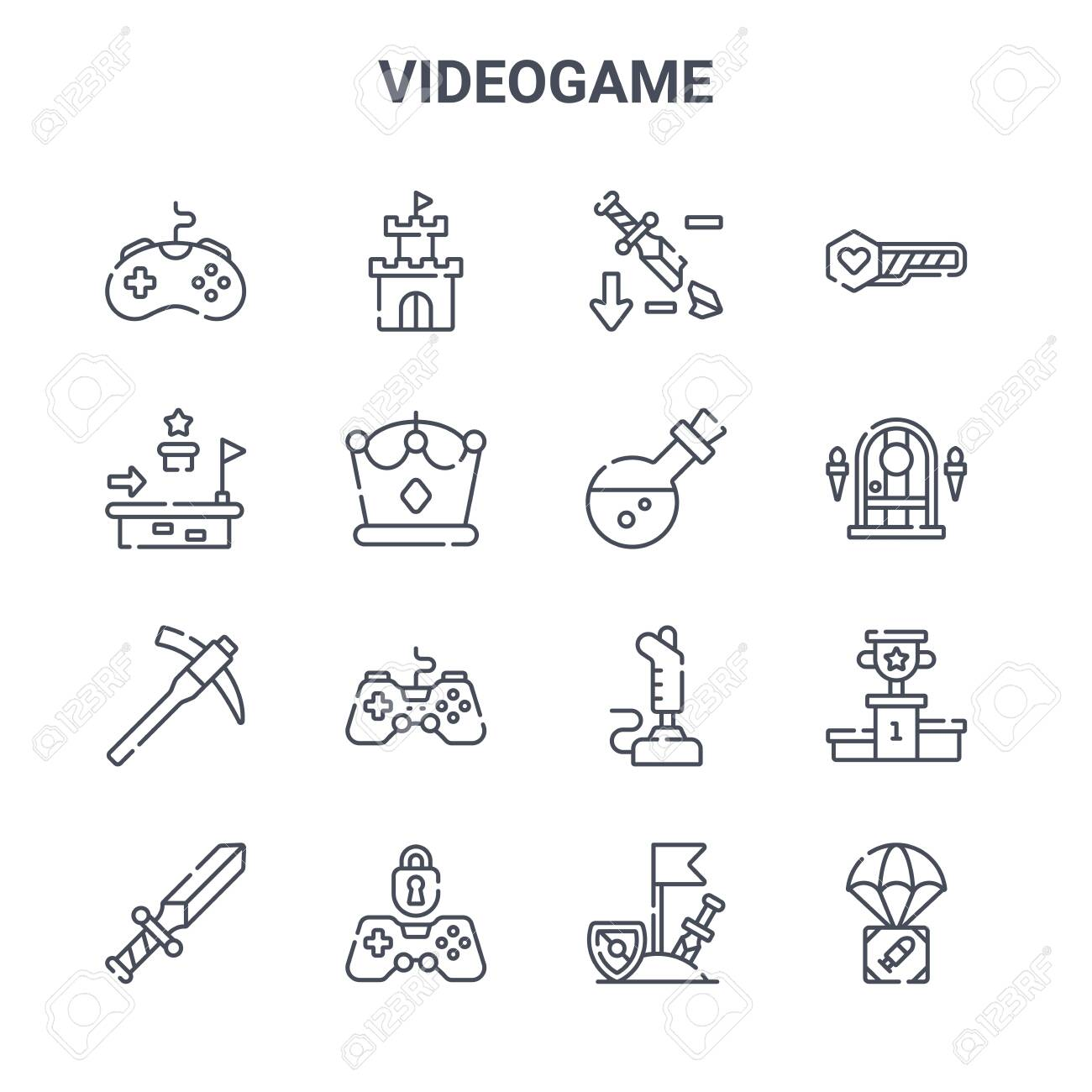 set of 16 videogame concept vector line icons. - 152959435