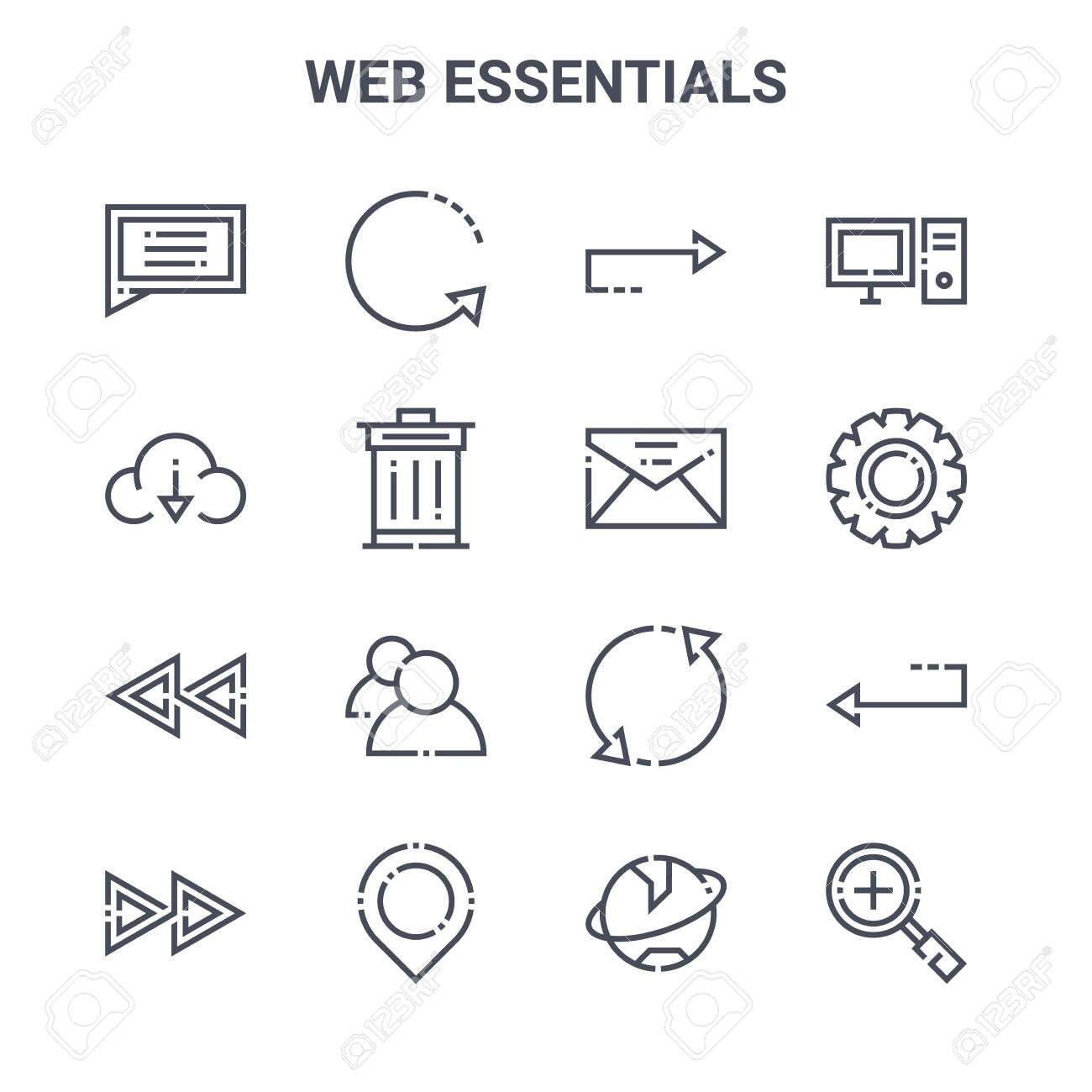 set of 16 web essentials concept vector line icons. - 152977287