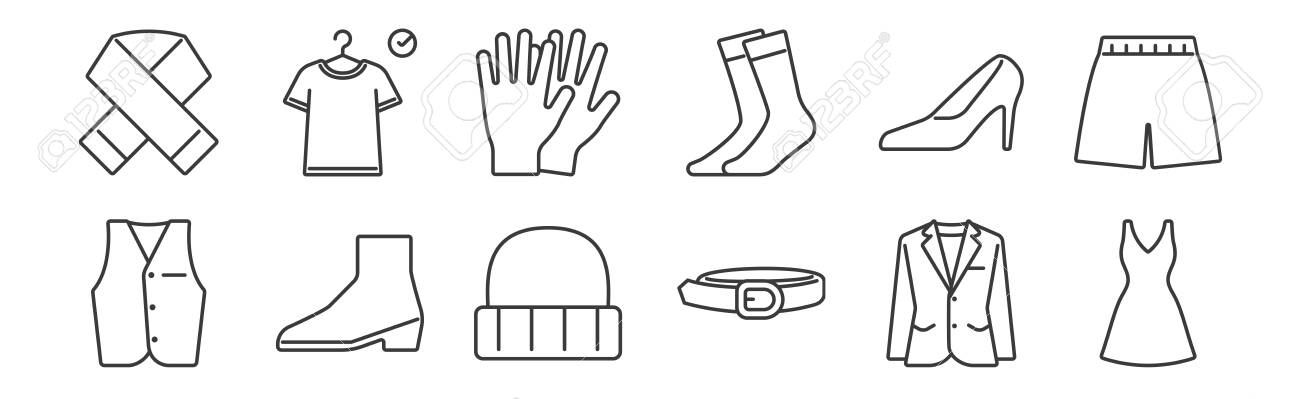 set of 12 linear clothes and outfit icons. thin outline - 153010735