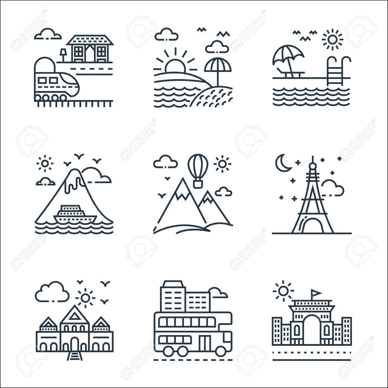 tourism line icons. linear set. quality vector line set. - 153176183