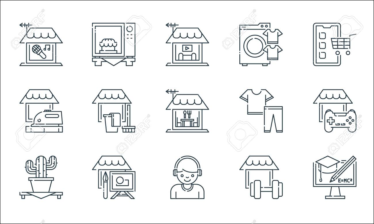 stay at home line icons. linear set. quality vector line set such as e learning, headphone, succuessful, gym, painting, ironing, clothes, washing machine, microwave - 153250095