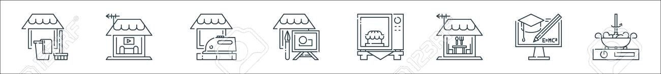 stay at home line icons. linear set. quality vector line set such as cooking, e learning, eating, microwave, painting, ironing, television - 153254180