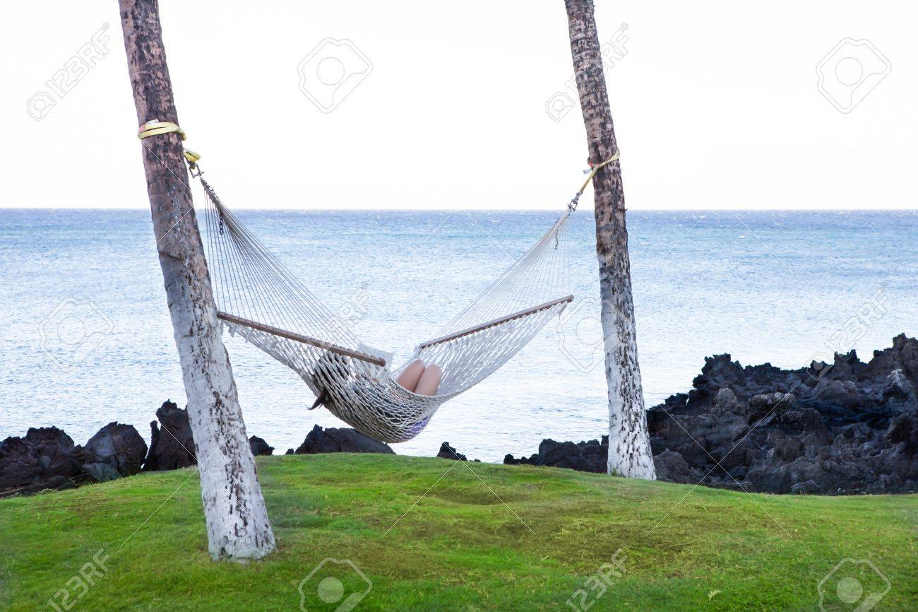 Woman in a hammock swing reading a book overlooking the ocean in Hawaii Stock Photo - 15041663