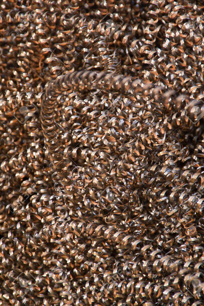An abstract background of copper-colored metal shavings (swarf) Stock Photo - 8117602