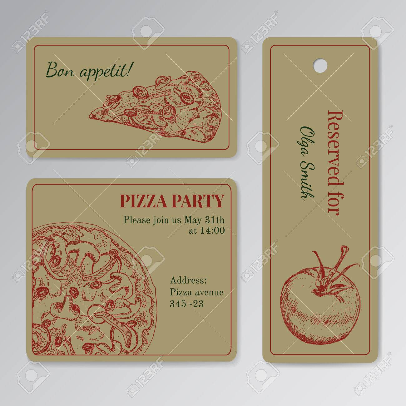 Set Of Cards Templates For Pizza Party Invitation Seat Reservation Etc Engraving Old