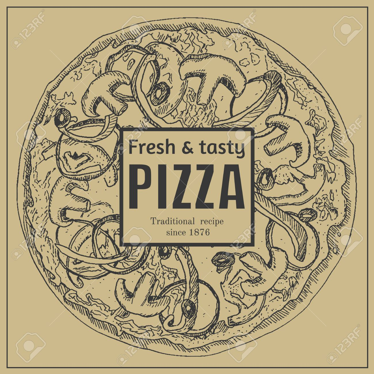 Ink Hand Drawn Pizza Package Box Template Engraving Old Fashioned Vintage Style Stock