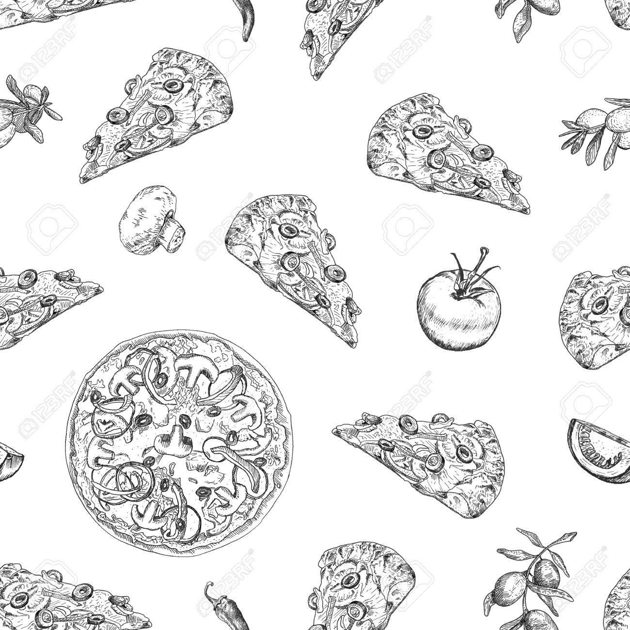 Vettoriale Modello Di Pizza Senza Soluzione Di Continuita Con I Rami Di Ulivo Pomodoro Fetta Di Pizza Peperoni Funghi Puo Essere Utilizzato Per Carta Da Parati Tessuti Pacchetto Carta Da Imballaggio