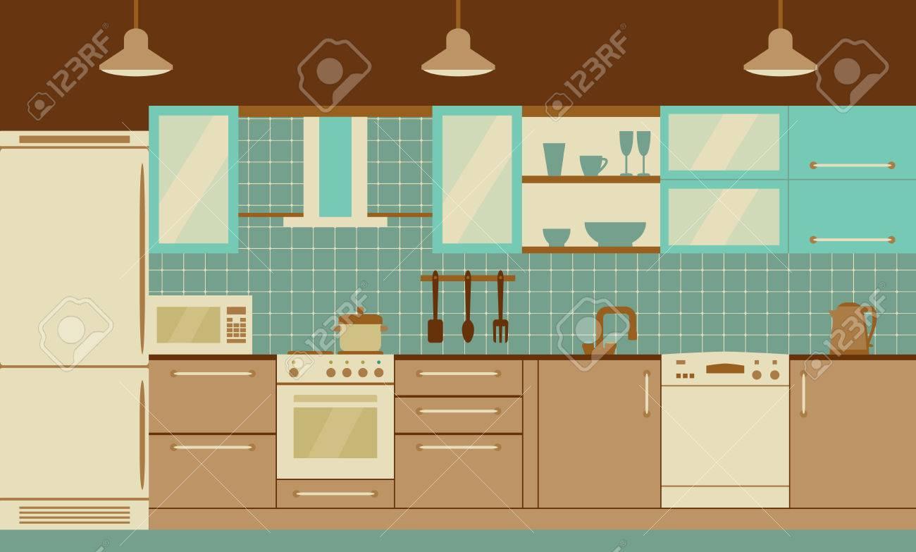 El Diseño Interior De La Cocina Con Muebles Para El Hogar Y ...