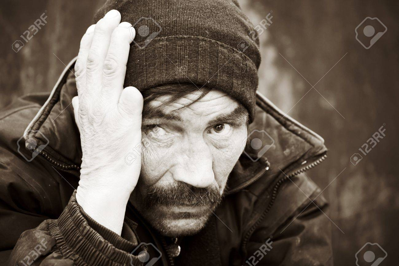 Homeless man in depression Stock Photo - 9210410
