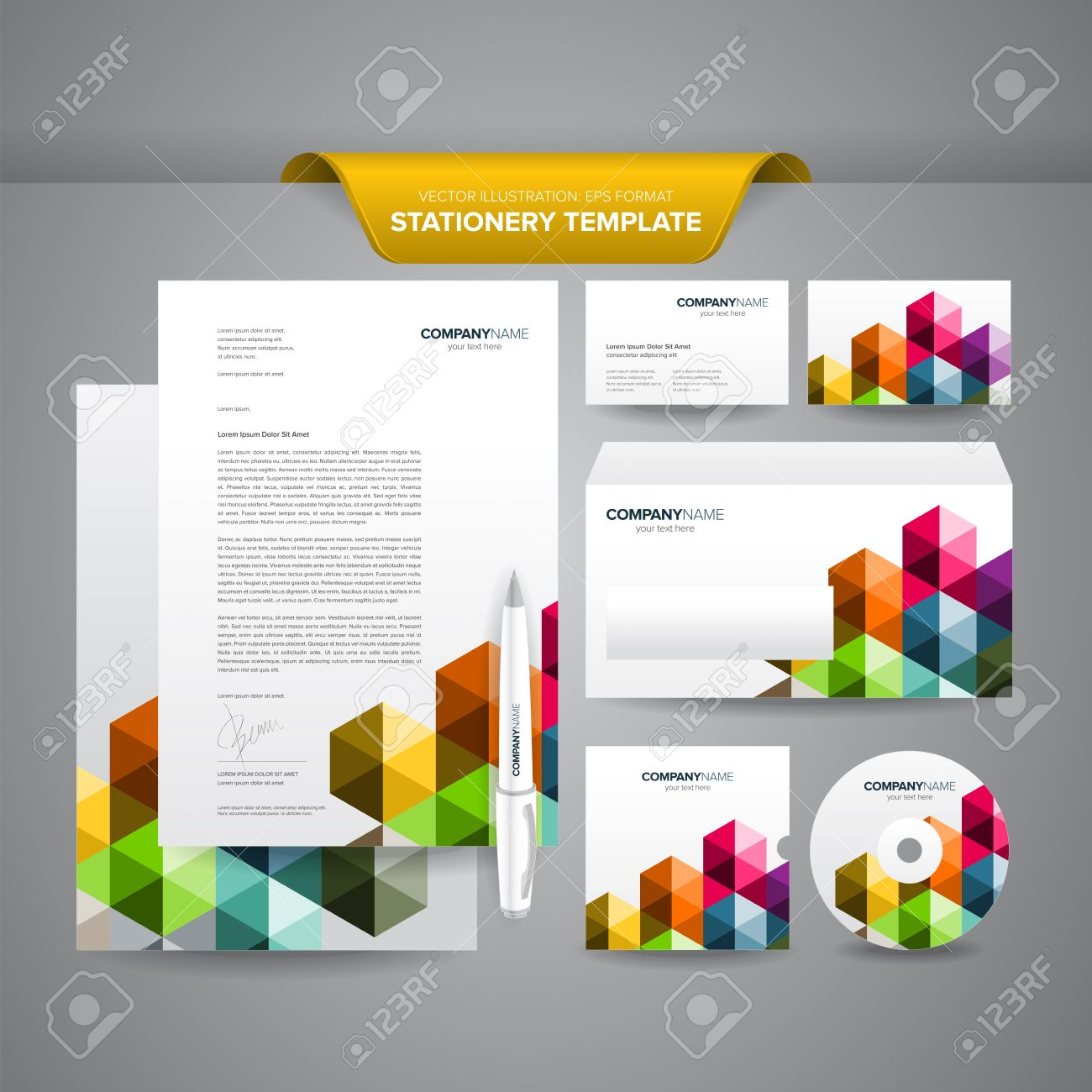 Complete set of business stationery template such as letterhead, business cards, envelope, CD cover, etc Stock Vector - 17721496