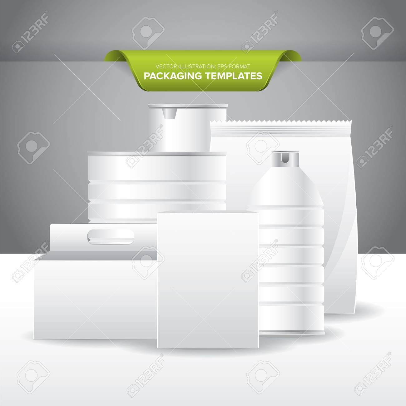Set Of Empty And Blank Packaging Templates For Food And Beverage ...