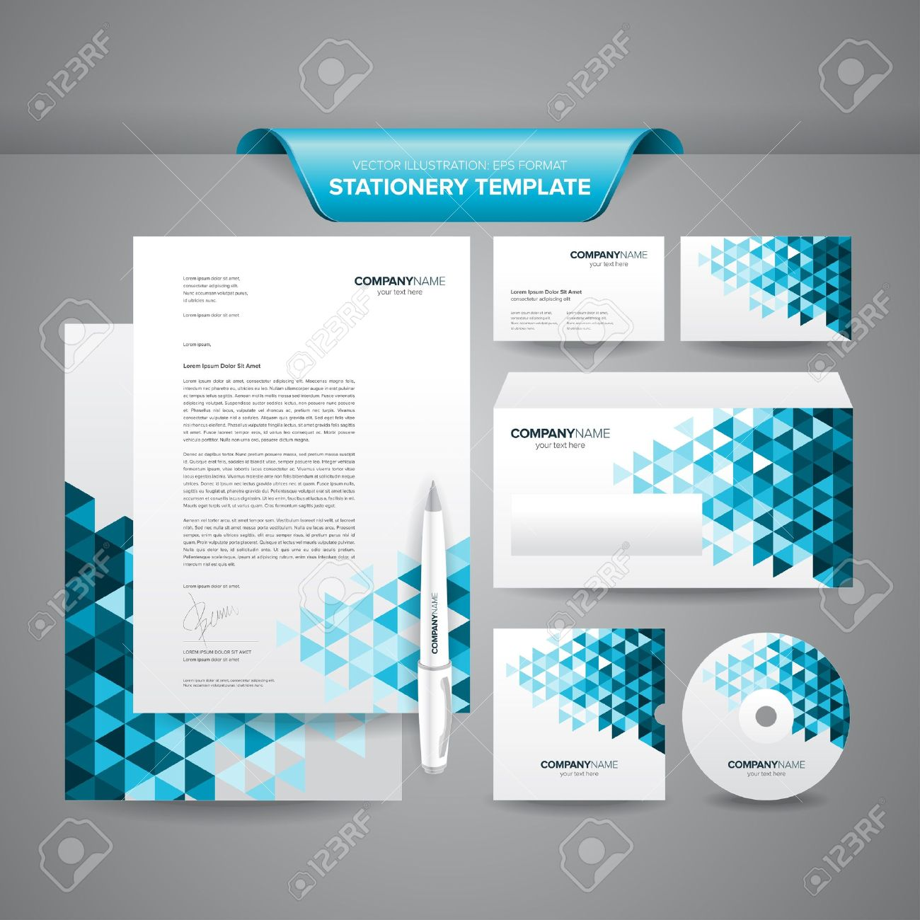 Complete Set Of Business Stationery Template Such As Letterhead ...