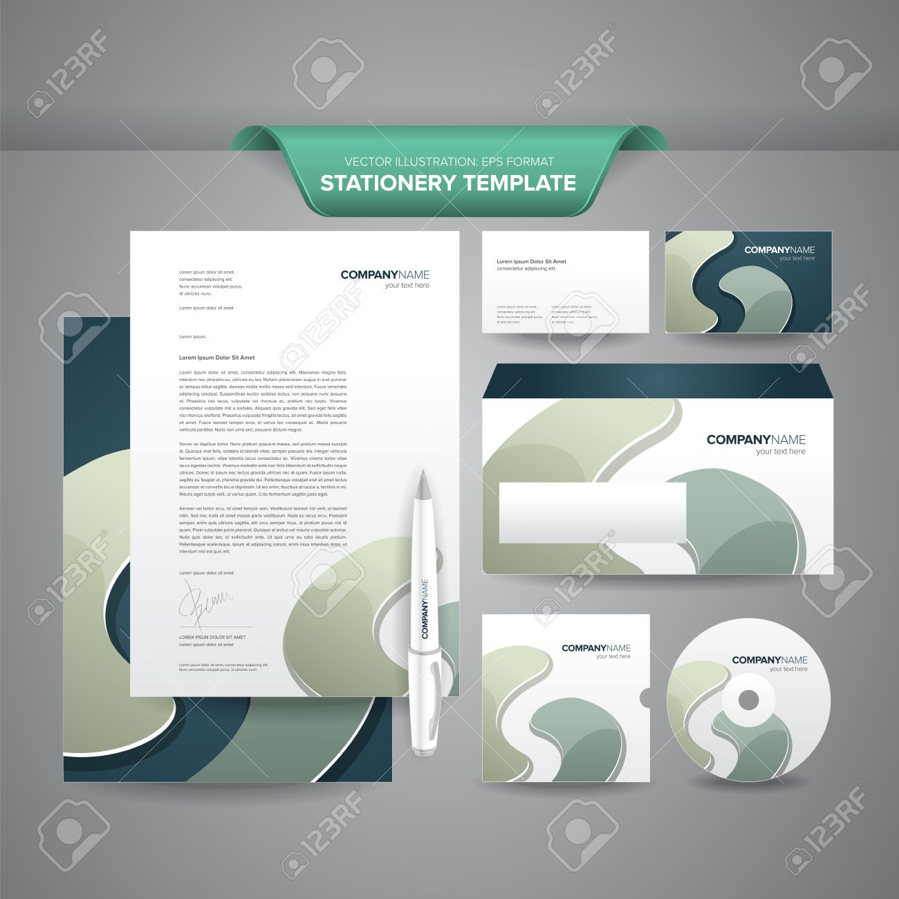 complete set of business stationery templates such as letterhead envelope business card etc