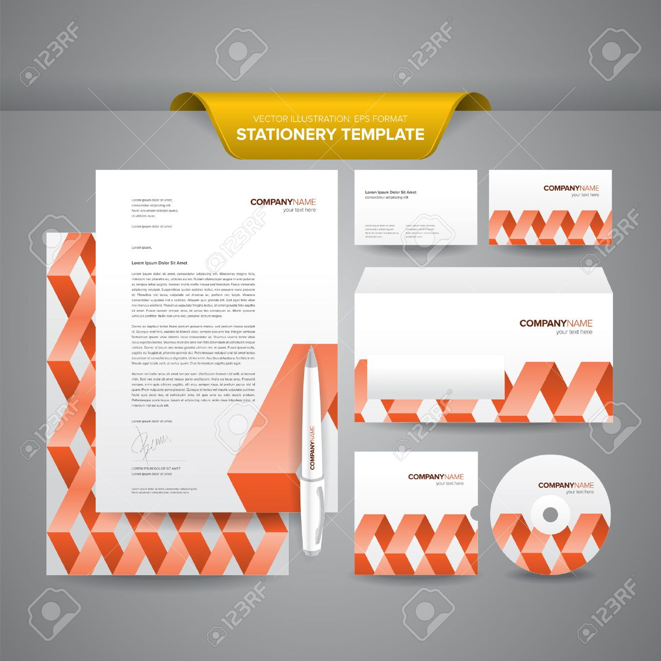 Complete Set Of Business Stationery Templates Such As Letterhead ...