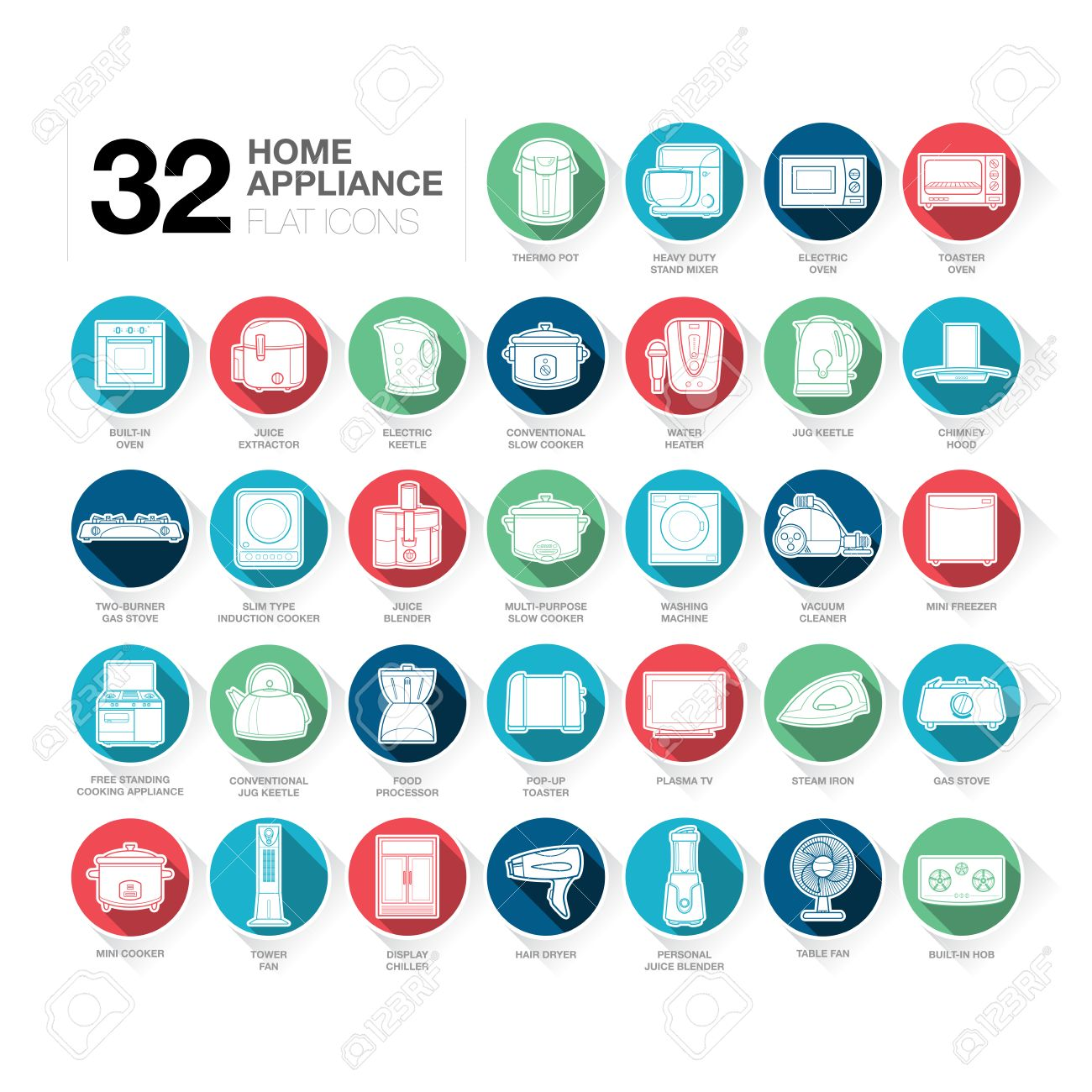 A Set Of Home Appliance Icons Including Kitchen Appliances, Small ...