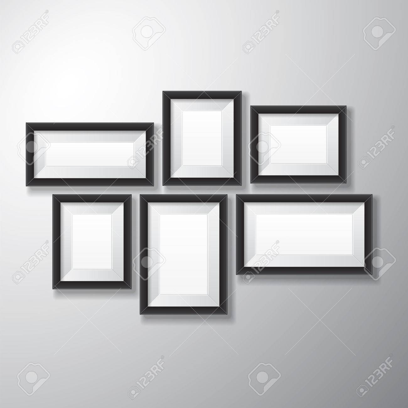 variety sizes of realistic black picture frames with empty space isolated on white background for presentation