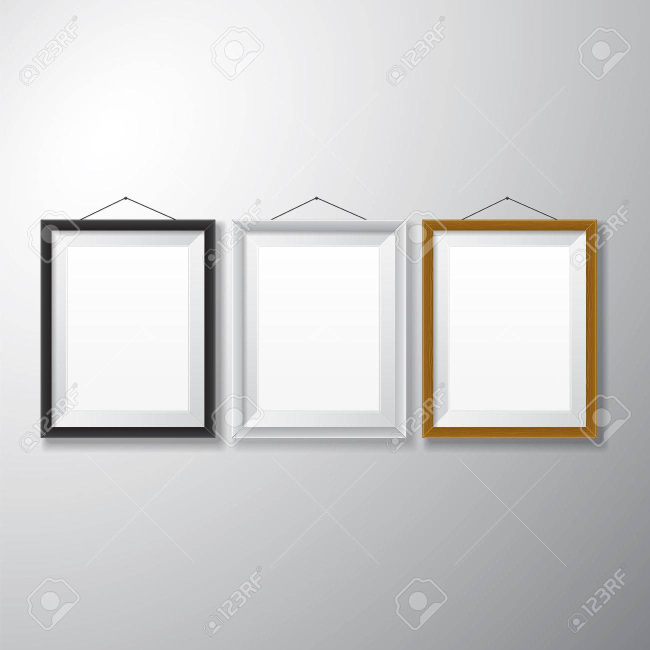 variety types of realistic vertical picture frames with empty