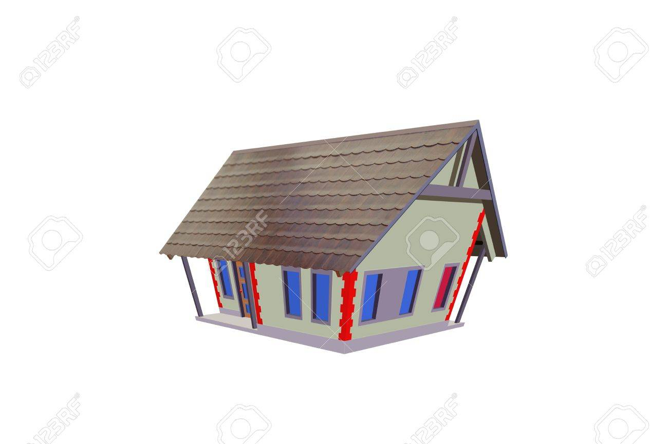 Colourful drawing little house house stock photo 15903432