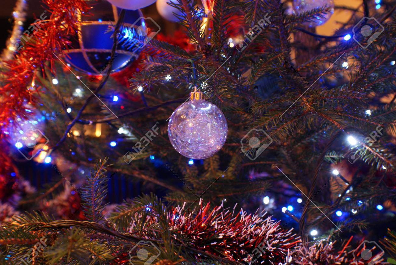 Lonely Christmas.Lonely Christmas Tree Bauble On The Tree