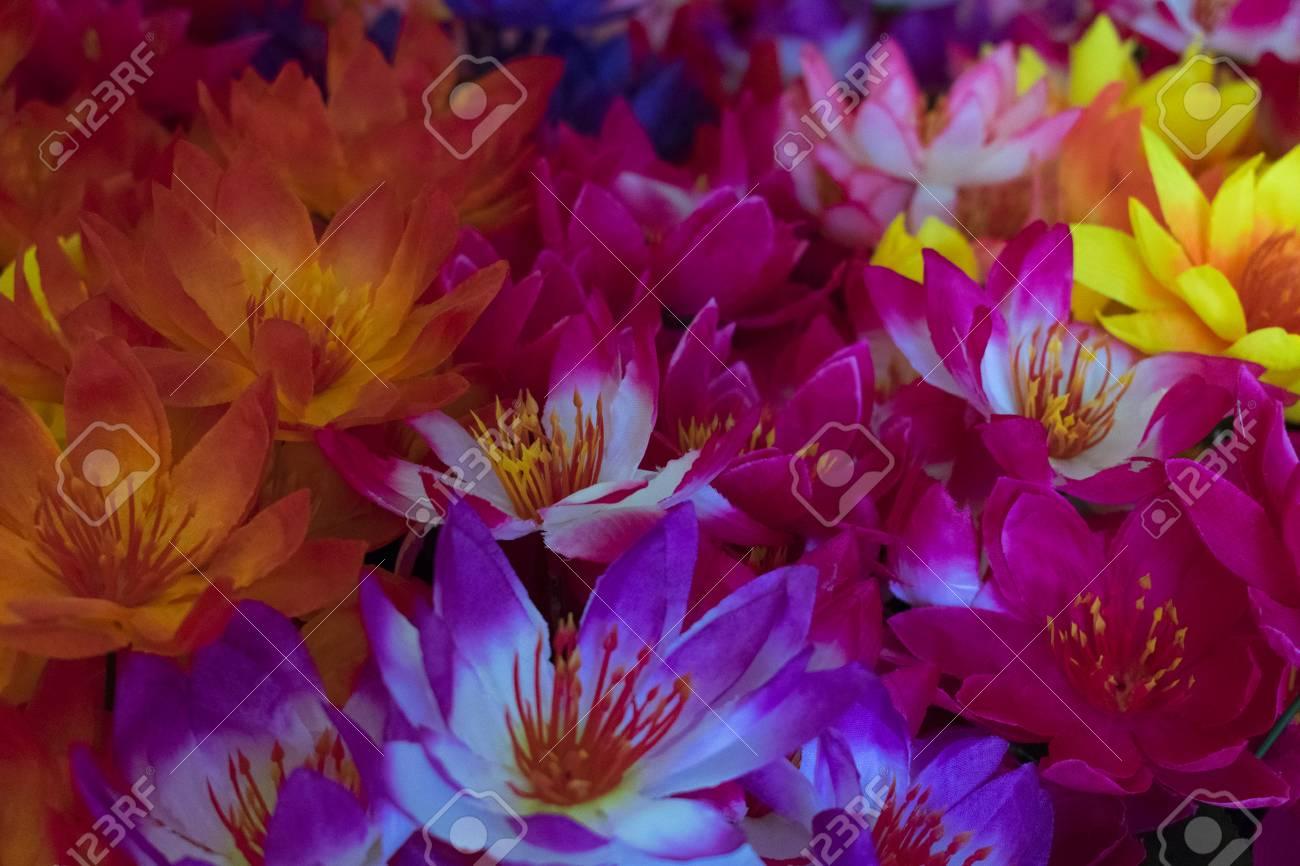 Multi colored artificial silk lotus flowers with one carpet stock multi colored artificial silk lotus flowers with one carpet stock photo 96382262 izmirmasajfo