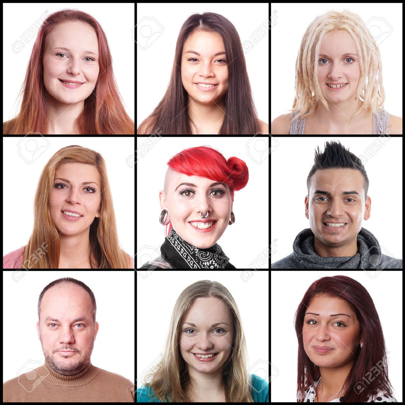 collection of 9 different multi-ethnic women and men ranging from 18 to 45 years - 36087476