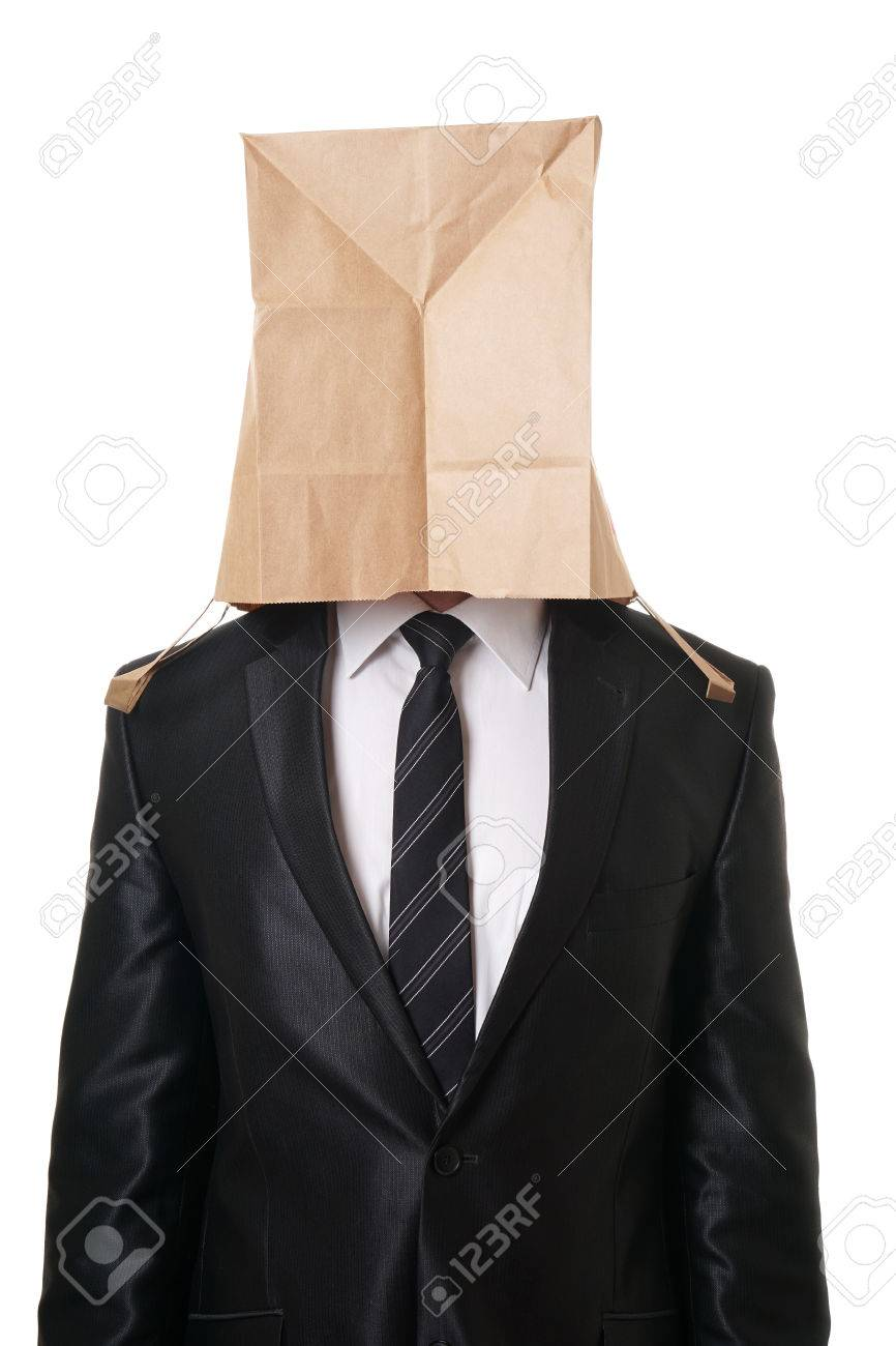 business man with brown paper bag over his head hiding his face - 40933064