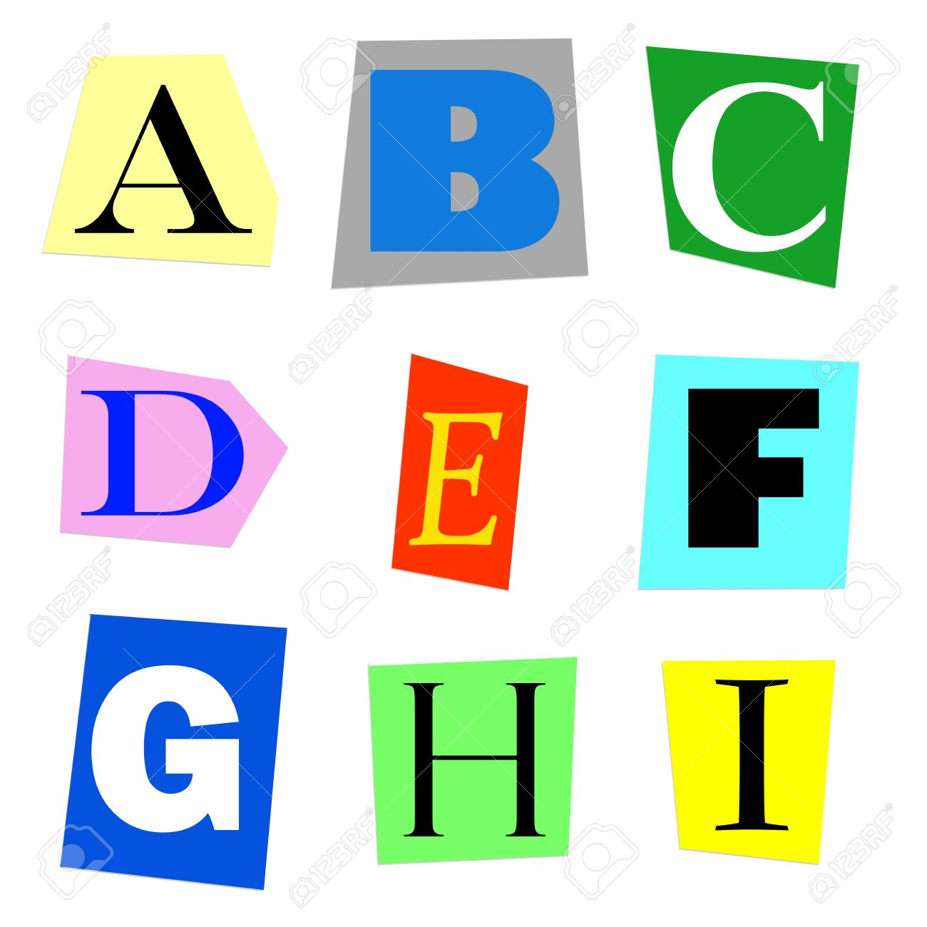 Colorful alphabet cut out from magazine letters a to i in high colorful alphabet cut out from magazine letters a to i in high resolution stock photo spiritdancerdesigns Images