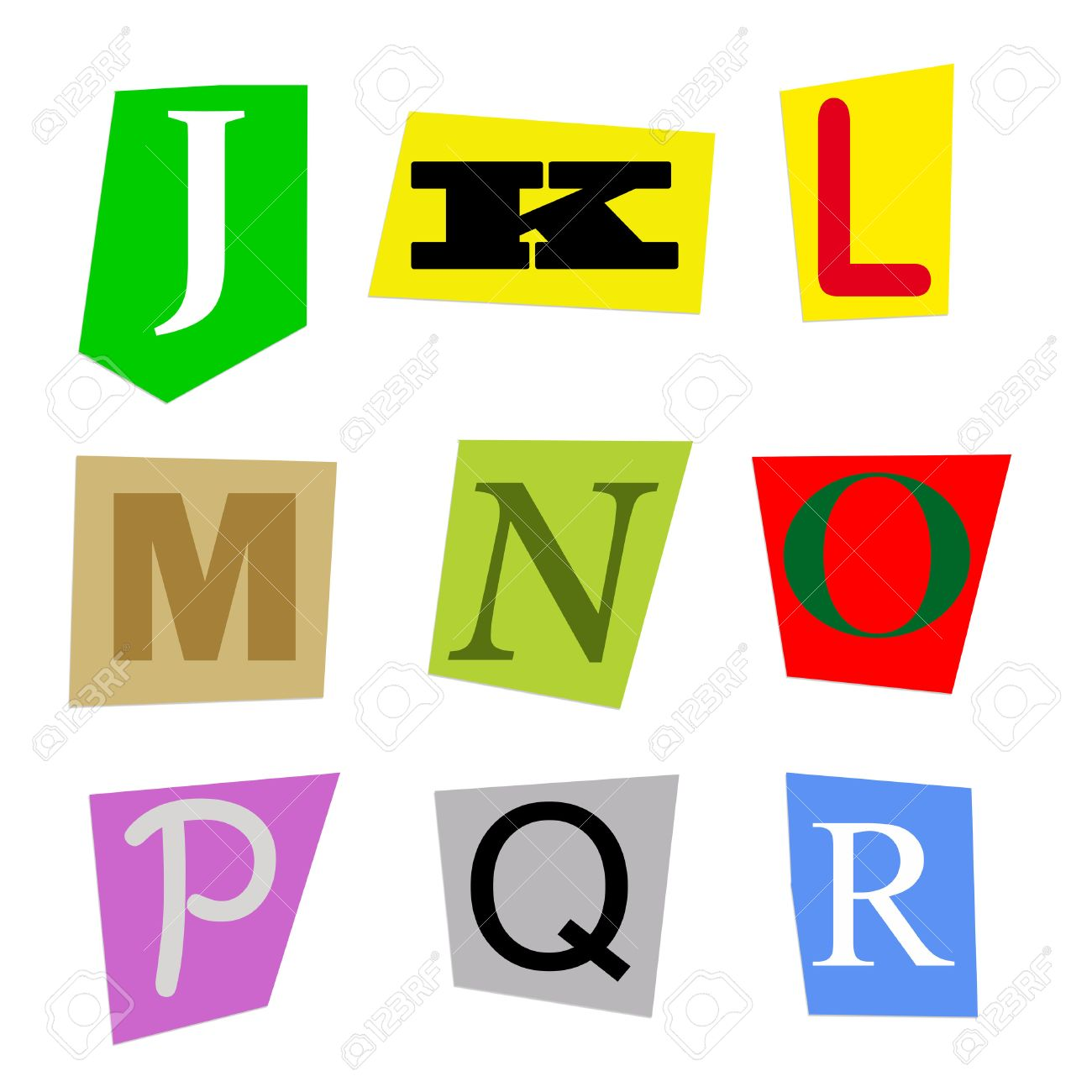 Colorful alphabet cut out from magazine letters j to r in high colorful alphabet cut out from magazine letters j to r in high resolution stock photo spiritdancerdesigns Images
