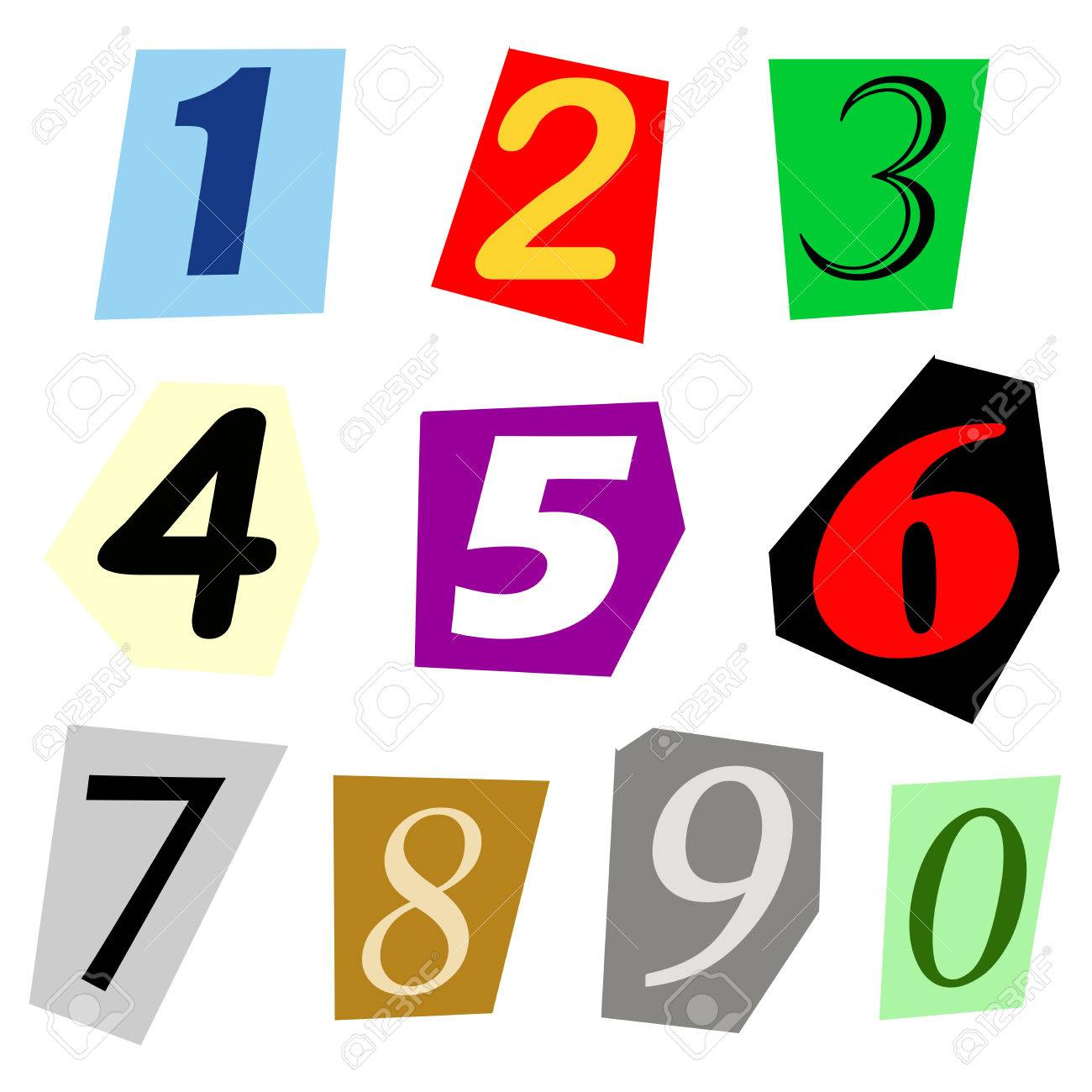 complete set of single digit numbers cut out from magazine