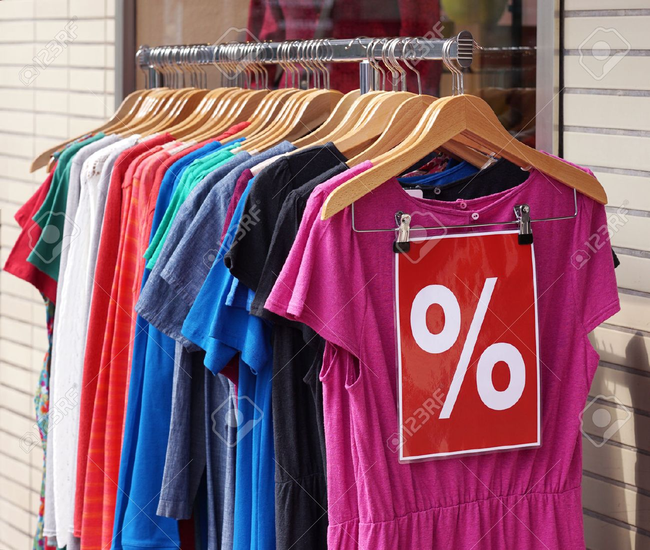 9cdafc8f79da4 clearance sale clothes rack with a selection of fashion for women Stock  Photo - 44170212