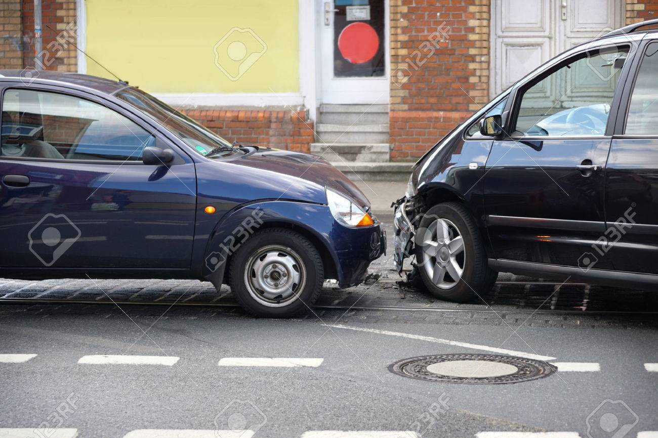 car crash or auto accident with front-end collision - 45223749
