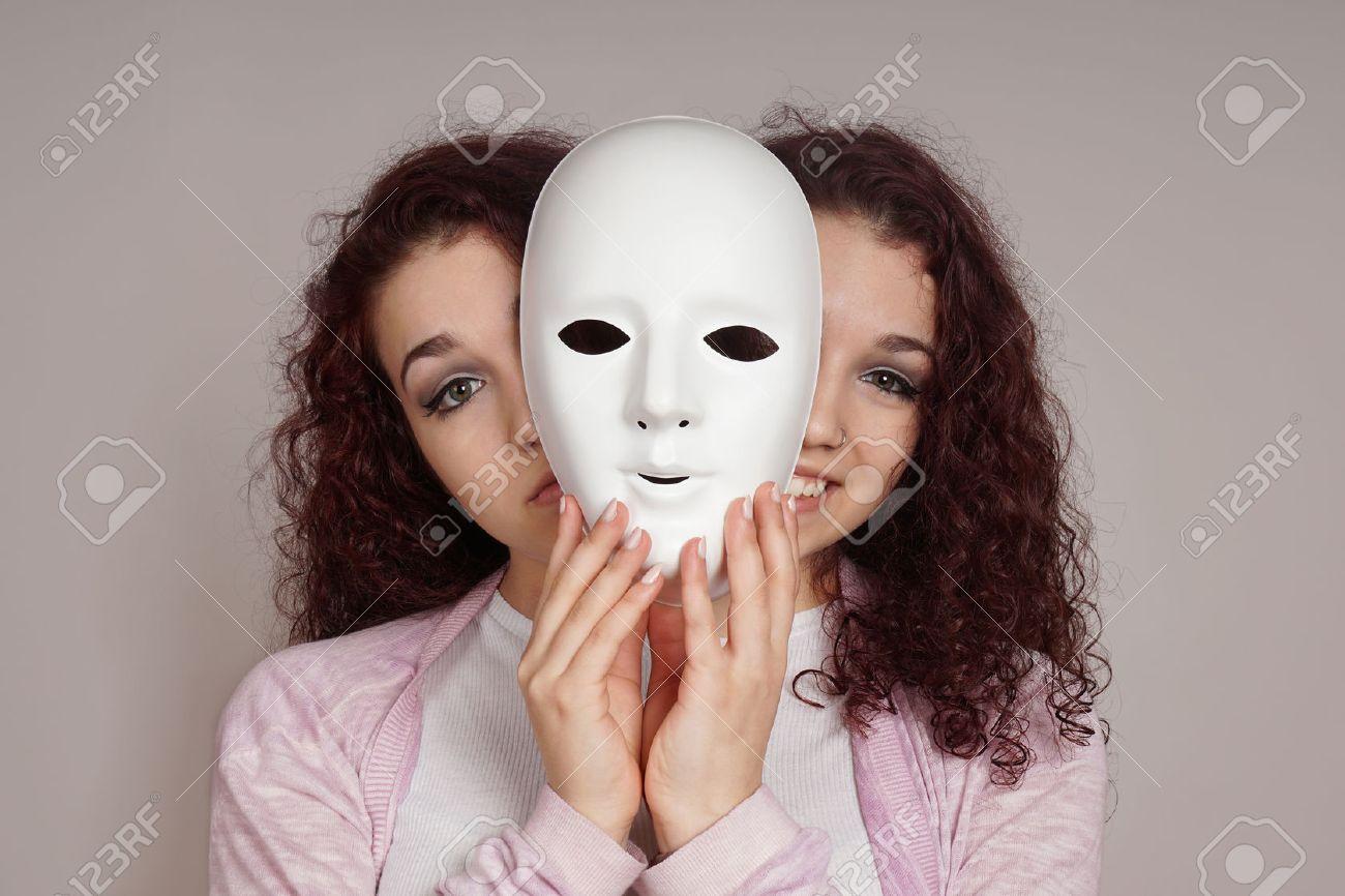 two-faced happy sad woman manic depression or schizophrenia concept - 51134725