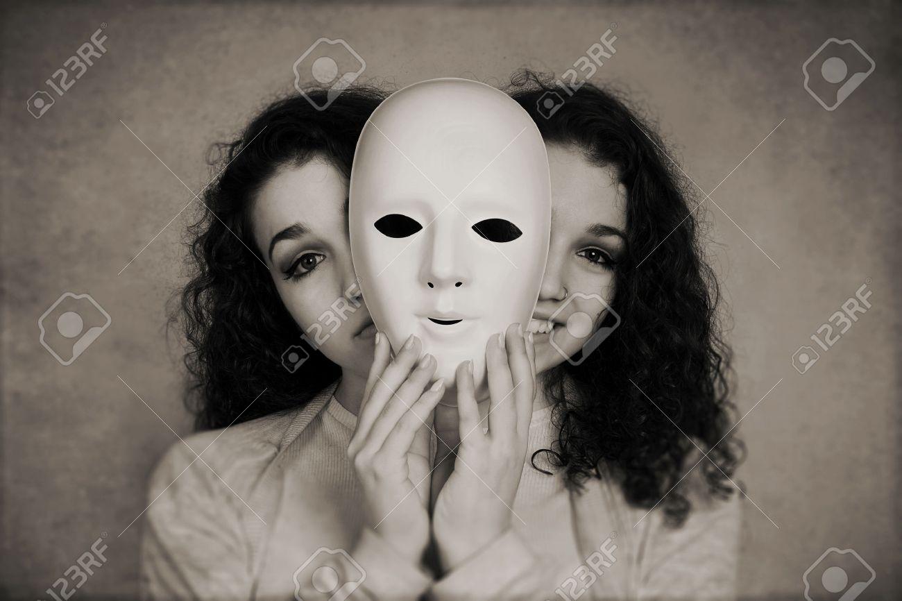 Two Faced Happy Sad Woman Manic Depression Or Schizophrenia Concept