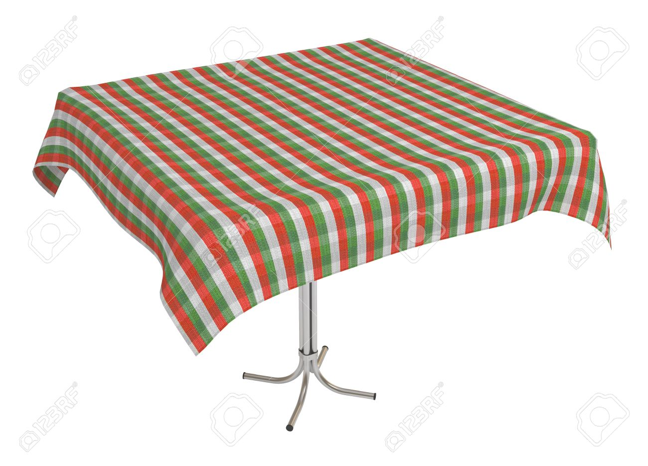 Table With Cloth, Italian Colors Tablecloth, 3d Illustration, Isolated On  White Stock Illustration