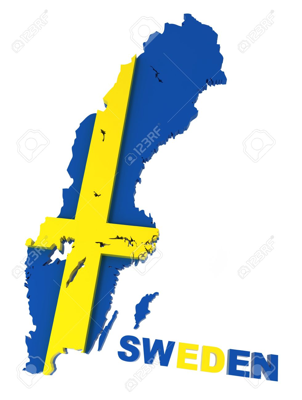Sweden Map With Flag Isolated On White D Illustration Stock - Sweden map 3d